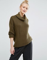 Monki Roll Neck Ballon Sleeve Jumper Khaki Green