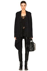 Givenchy Pinstripe Sweater Coat In Black Stripes Black Stripes
