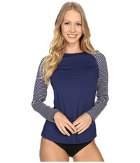 Carve Designs Sunset Rash Guard Anchor Stripe Women's Swimwear Gray