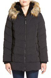 Women's Dkny Faux Fur Trim Down And Feather Fill Parka Black