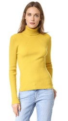 3.1 Phillip Lim Long Sleeve Ribbed Turtleneck Gold