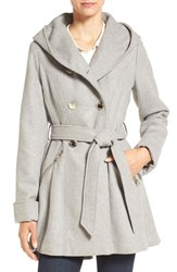 Jessica Simpson Women's Double Breasted Hooded Trench Coat Grey