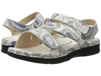 Drew Shoe Angela Beige Multi Python Print Leather Women's Sandals Silver