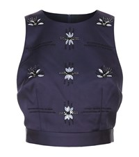 Keepsake Take Me Over Embellished Crop Top Female Navy