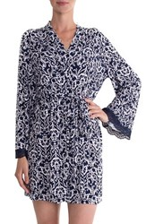 In Bloom By Jonquil Women's Short Robe Ivory Navy