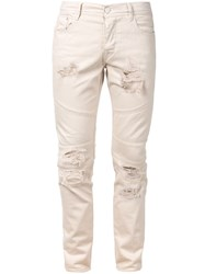 Stampd Distressed Panel Jeans Nude And Neutrals