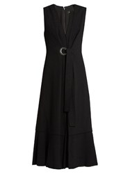 Proenza Schouler Sleeveless V Neck Crepe Dress Black
