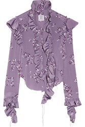 Vetements Ruffled Floral Print Stretch Jersey Blouse Lavender