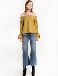 Pixie Market Mustard Off The Shoulder Top