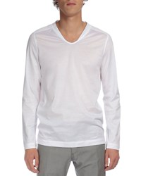Berluti Long Sleeve V Neck Tee White Size 56