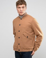 Asos Wool Mix Bomber Jacket With Borg Lining In Camel Camel Tan