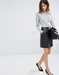 Warehouse Croc Pu Skirt Black