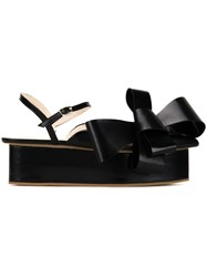 Delpozo Bow Wedge Sandals Black