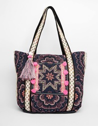 Warehouse Star Embroidered Shopper 22954