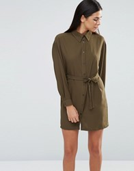 Love Belted Shirt Dress Khaki Green