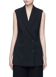 Stella Mccartney Side Zip Wool Crepe Waistcoat Black