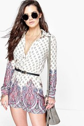 Boohoo Paisley Border Shirt Playsuit Ivory