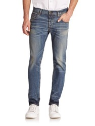 Rag And Bone Standard Issue Fit 2 Slim Low Rise Jeans Distressed Wash