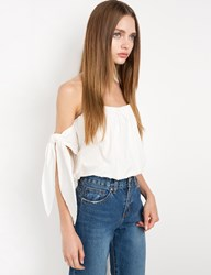 Pixie Market Gia White Arm Tie Ots Top