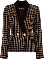 Balmain Checked Single Button Blazer Black