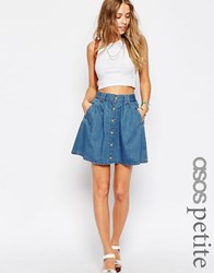 Asos Petite Button Through A Line Skirt In Indigo Indigo Blue