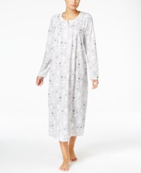 Charter Club Smocked Printed Knit Nightgown Only At Macy's Grey Floral