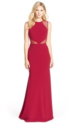 Js Collections Illusion Mesh And Ottoman Gown Cardinal