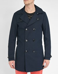Scotch And Soda Navy Trench Coat With Belt