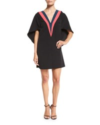 Milly Beetle V Neck Colorblock Mini Dress Multi Colors