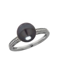 Lord And Taylor 9Mm Tahitian Pearl Diamond 14K White Gold Ring