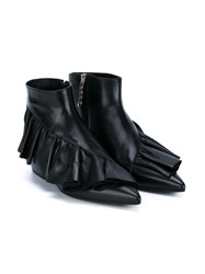 J.W.Anderson Ruffle Leather Ankle Boots Black Silver Denim White
