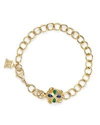 Temple St. Clair 18K Gold Turtle Oval Link Bracelet With Blue Sapphires Emeralds And Diamonds