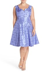 Plus Size Women's Taylor Dresses Notch Neck Eyelet Shantung Fit And Flare Dress Periwinkle