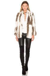 525 America Rabbit Fur Jacket Taupe