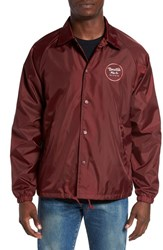 Brixton Men's 'Wheeler' Coaches Jacket Burgundy