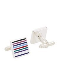 Carrs Of Sheffield Striped Square Enamelled Sterling Silver Cufflinks