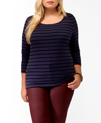 Forever 21 Nautical Striped Buttoned Top Blue Black