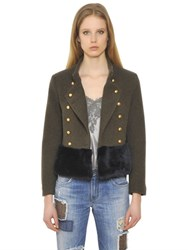 Ermanno Scervino Wool Cashmere Cloth And Faux Fur Jacket