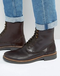 Frank Wright Lace Up Boot In Brown Leather Brown