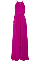 Badgley Mischka Ruffled Silk Chiffon Gown Fuchsia
