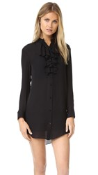 Haute Hippie Ruffle Front Shirtdress Black
