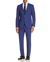 Hugo Chambray Solid Slim Fit Suit Bright Blue
