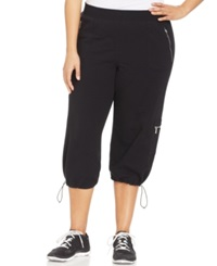 Style And Co. Sport Plus Size Bungee Hem Capri Sweatpants Deep Black