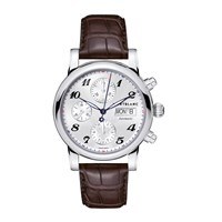 Montblanc106466 Men's Star Chronograph Day Date Automatic Leather Strap Watch Brown Silver
