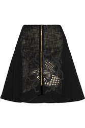 Roland Mouret Ockwells Open Weave Cotton Blend Mini Skirt Black