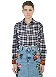 Gucci Rose Applique Cuffed Plaid Shirt Navy