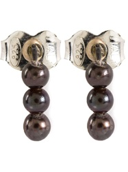 Henson Pearl Stud Earrings Metallic