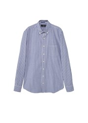 Mango Slim Fit Bengal Stripe Shirt Navy