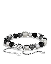 David Yurman Dy Elements Bracelet With Black Onyx And Hematine Silver