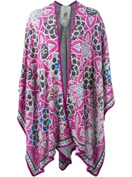 Friendly Hunting Knitted Poncho Pink And Purple